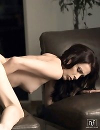 Watch Through An Open Window As Brunette Babe Aiden Ashley Squeezes Her Tits And Finger Fucks Her Ba