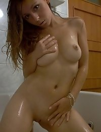Naughty brunette babe in my bathroom