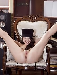 Amazing Brunette Does Not Pull Rabbits From Her Hat But Sure Pulls Out A Nice Piece Of Pussy From Un