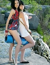 Watch Closely How These Two Slender Teen Lesbians Give Their Best In Calming Natural Environment. Se