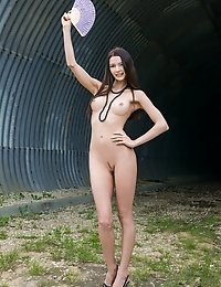 Incredible Dark Haired Teen Beautie With Impressive Tits Showing Naughty Body In Hangar.