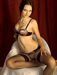 Well, Pretty Brunette Teen Is Ready To Pose In Sexy Black Lingerie And To Show All Her Delights.