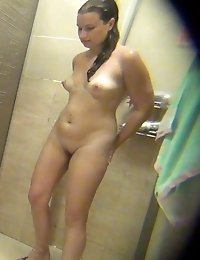 Young princess soaps up and dries her naked body