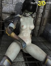 Slutty space soldier wants to masturbate her shaved pussy