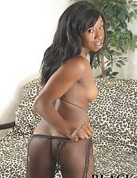 Beautiful young black chocolate in pantyhose