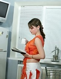 By Reading An Erotic Book On The Kitchen The Incredible Angel Couldnt Help Taking Off Her Clothes An