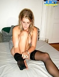 Pretty blonde in black stockings