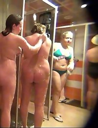 A group of old babes fill up a tiny shower