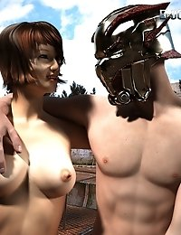 Masked warrior stud fucks hot, naked brunette!