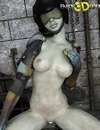 Nice naked body of sexy space soldier