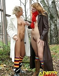 Natasha and Kasper outdoor lesbian loving