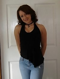 Hot GF with nice tits poses in jeans