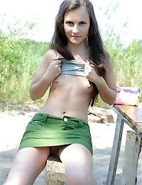 Long Haired Teen Beauty Stripping Down On The Sand To Show Her Titties And Delicious Twat.